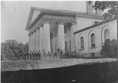 Custis Lee Mansion with Union soldiers on lawn - Fold3.com