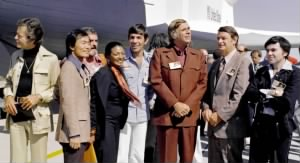 Gene Roddenberry and the cast of Star Trek, 1976