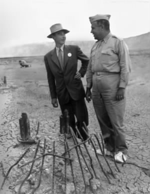 Oppenheimer and Groves at the Trinity Test site