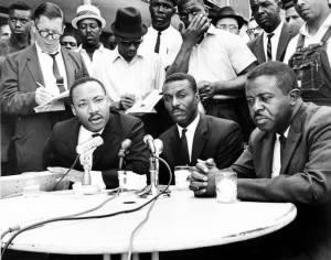 Shuttlesworth (center) with the Rev. Martin Luther King Jr. and Ralph Abernathy.jpg