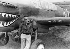 With his P-40.