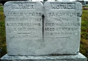 HEADSTONES FOR JACOB V. ROSS AND WIFE SARAH KLINE.jpg