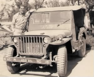 15AF 458 8G  HQ 15 WWII Sgt Howard Campbell with jeep Rita 3x4.jpg