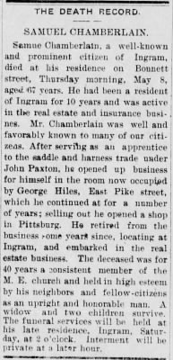 The Canonsburg Notes, Canonsburg, PA, 9 May 1902, p. 1.