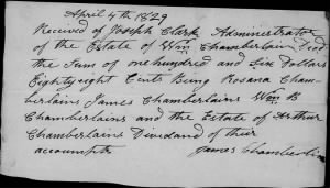 Rosanna Chamberlin & Others 1829 Receive Money from Wm Chamberlin Estate.jpg