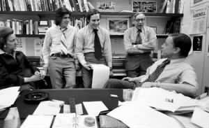 Katharine Graham, Carl Bernstein, Bob Woodward, managing editor Howard Simons, and executive editor Ben Bradlee in 1973..jpg