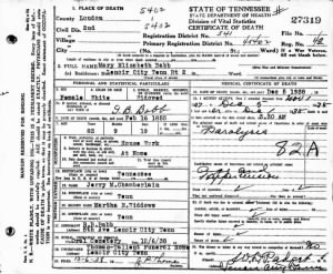 Mary Elizabeth Babb 1938 TN Death Cert.jpg