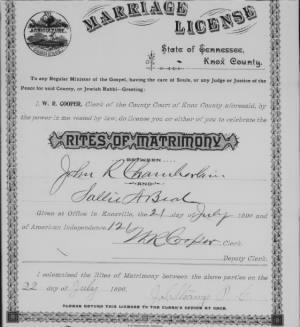 John R Chamberlain 1896 to Sallie Beal Marr License.jpg