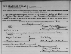 John Burkett Chamberlain 1918 to S V Beal Marr License.jpg
