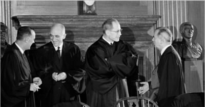 Potter Stewart, John M. Harlan II, Byron R. White and William J. Brennan Jr. of the Supreme Court in 1962,.jpg
