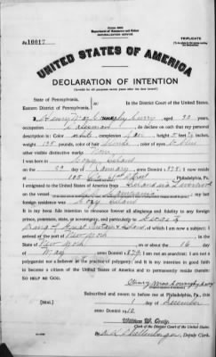 Henry M Curry 1910 Naturalization App