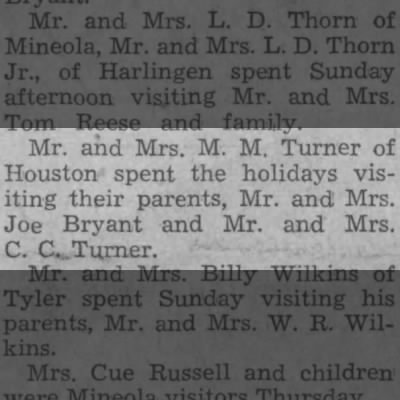 M.M. Turner of Houston -- visiting parents Joe Bryant & C.C. Turner