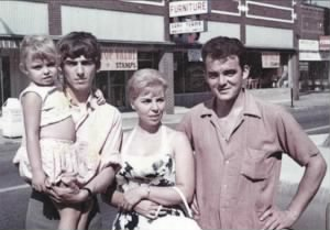 Brothers George and Peter Harrison visit their sister Louise in Benton IL 1963.jpg