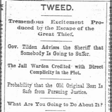 Boss Tweed Escapes from Prison