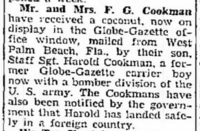Cookman, Harold F_The_Mason_City_Globe_Gazette_Sat_06 March 1943_Pg 15.JPG