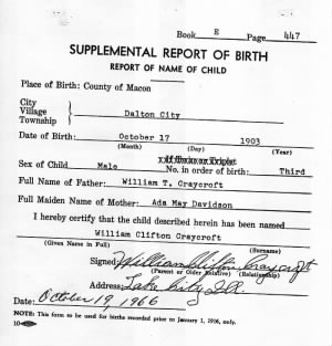 Supplemental Birth report, William Clifton Craycroft