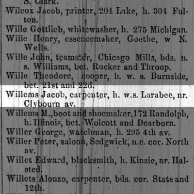 Jacob Willems 1863 Chicago City Directory