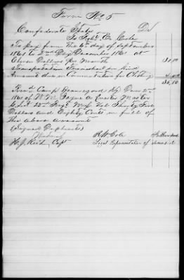 Form 5 issued upon death of Pvt Robert E. Cole.  Issued back pay and clothing allowance for his service.  Witnessed by Capt Reid, Company G and his father, R. W. Cole.