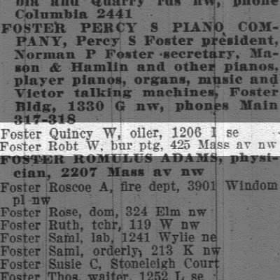 Quincy W. FOSTER, one of my GreatGrandmth's husband, her second -DC.