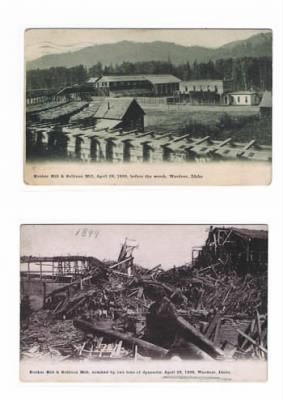 Bunker Hill Mine/Mill the day before and the day after.  1899