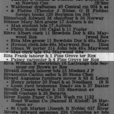 1916 Boston City Directory with Dad's Uncle Frank and Father (Patsey).
