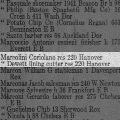 Marcolini Boston Mass 1922 Directory